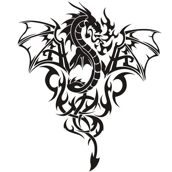 Dragon Sticker Design Black