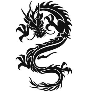Dragon Japanese Sticker Black and White