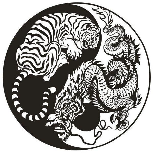 Dragon Sticker Yin Yang Tiger