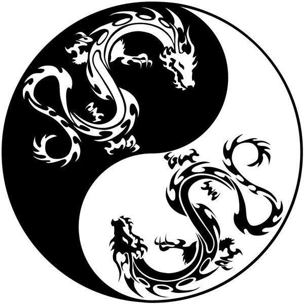 Dragon Sticker Wall Art Yin Yang