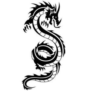 Dragon Sticker Oriental Style Black