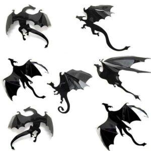 Dragon Sticker Mural Art Black