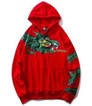 Dragon Hoodie Ancestral Style Organic Cotton