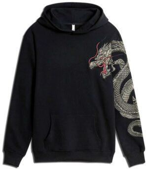Dragon Hoodie Celestial Design Cotton
