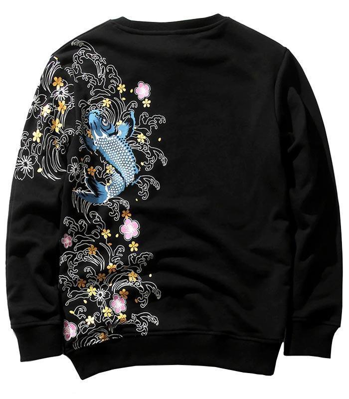 Dragon Sweater Blue Koi Carp Cotton