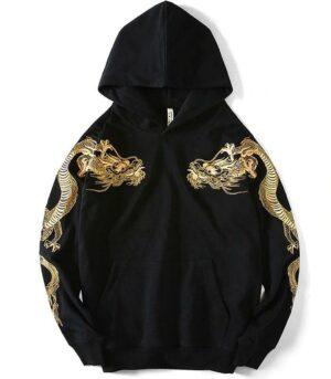 Dragon Hoodie Asian Style Streetwear Cotton