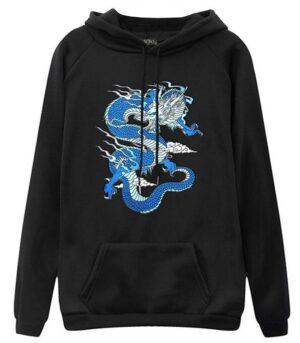 Dragon Hoodie Printed Blue Cotton Bio