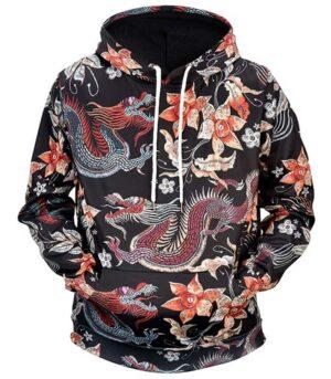 Chinese Flowers Dragon Hoodie