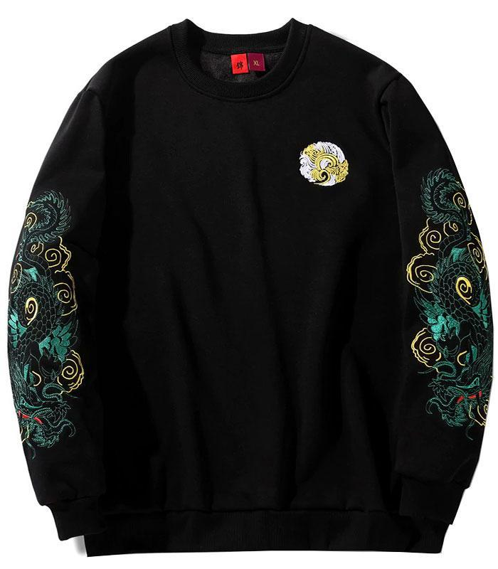Dragon Sweater Chinese Green Cotton