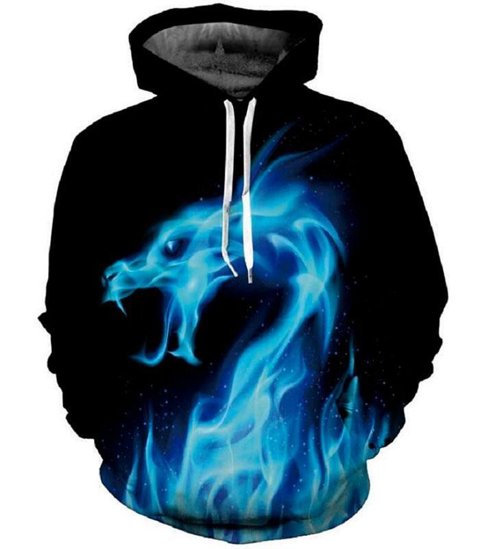 Dragon Blue Flame Hoodie