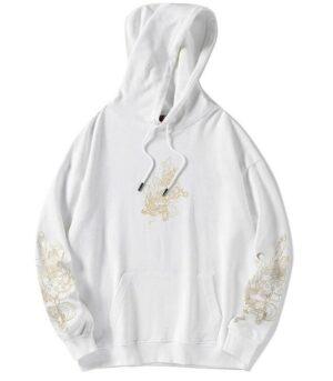 Dragon Hoodie White Japanese Cotton