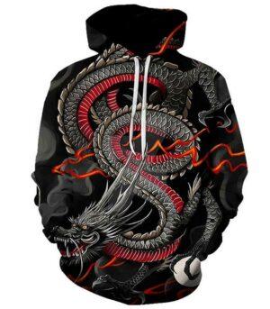 Dragon Black and Red Hoodie Japanese
