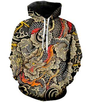 Dragon Hoodie Japanese Cloud Colors