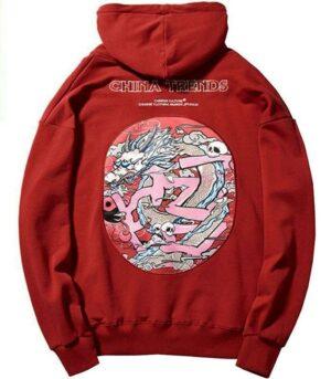 Dragon Hoodie Red Yin Yang Cotton