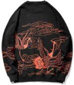 Dragon Hoodie Japanese Crane Cotton