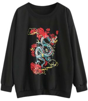 Dragon Hoodie Japanese Women Cotton Polyester