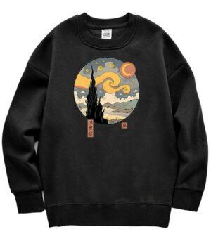Dragon Sweater Starry Night Ukiyo-e Cotton