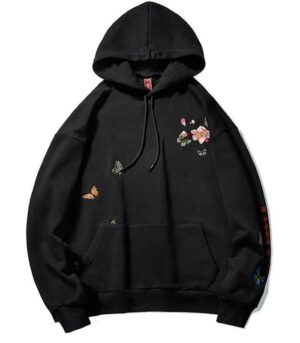Dragon Hoodie Butterfly Embroidered Cotton