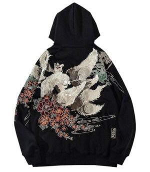 Dragon Hoodie Nine Tails Fox Cotton Embroidered