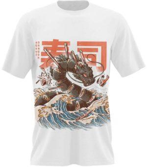 Dragon Tshirt Sushi Chinese Art