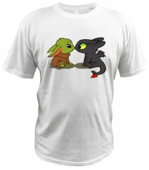 Dragon Tshirt Toothless and Baby Yoda Cotton