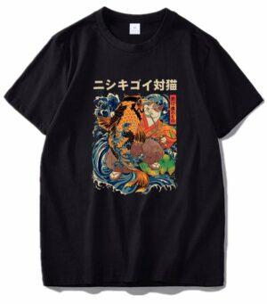 Dragon Tshirt Cat and Japanese Carp