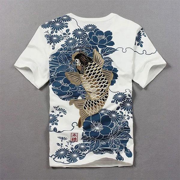 Dragon Tshirt Koi Carp Embroidered Cotton