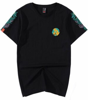 Dragon Tshirt Embroidered Outfit Cotton