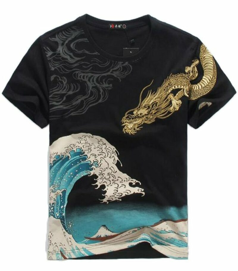 Dragon Tshirt Golden Japanese Art
