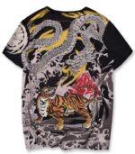 Dragon Tshirt Tiger Fight Japanese Art