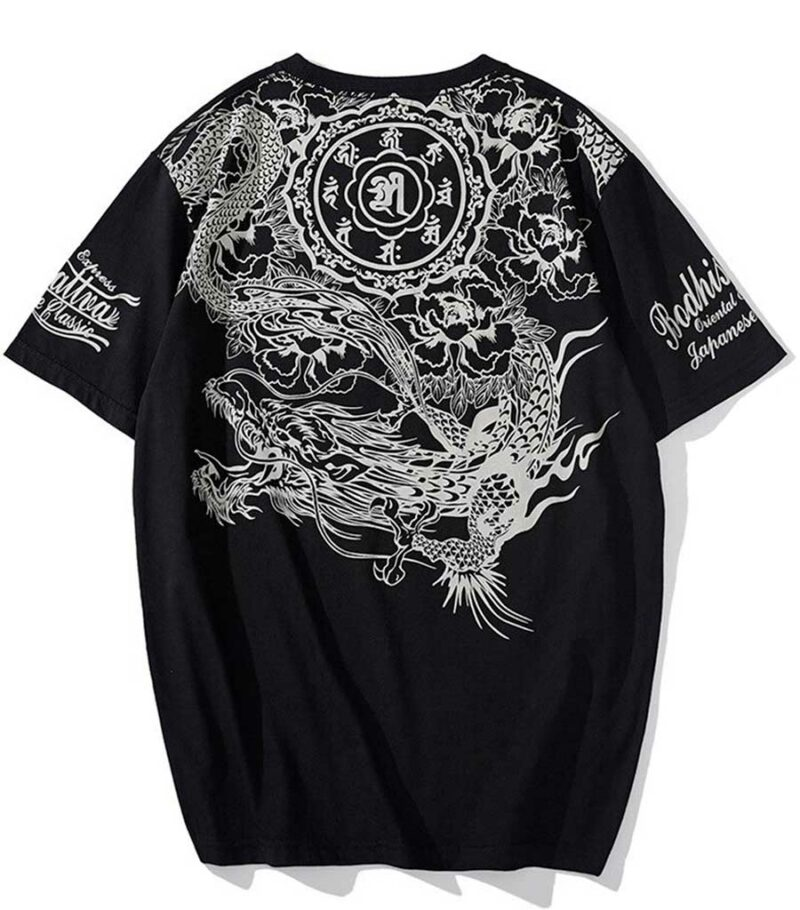 T-shirt dragon fleuri