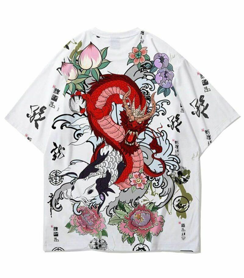 Dragon Tshirt Art Japanese Flowers
