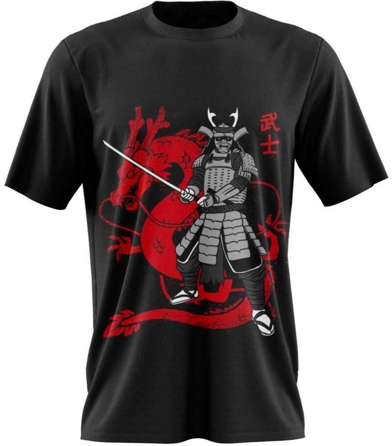 Dragon Tshirt Samurai Red