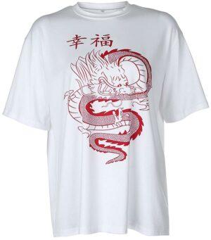Dragon Tshirt Japanese Women Cotton Polyester
