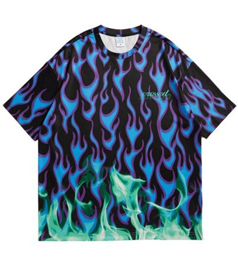 Dragon Tshirt Blue Flame Spandex