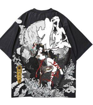 Dragon Tshirt Japanese Geisha Streetwear Style