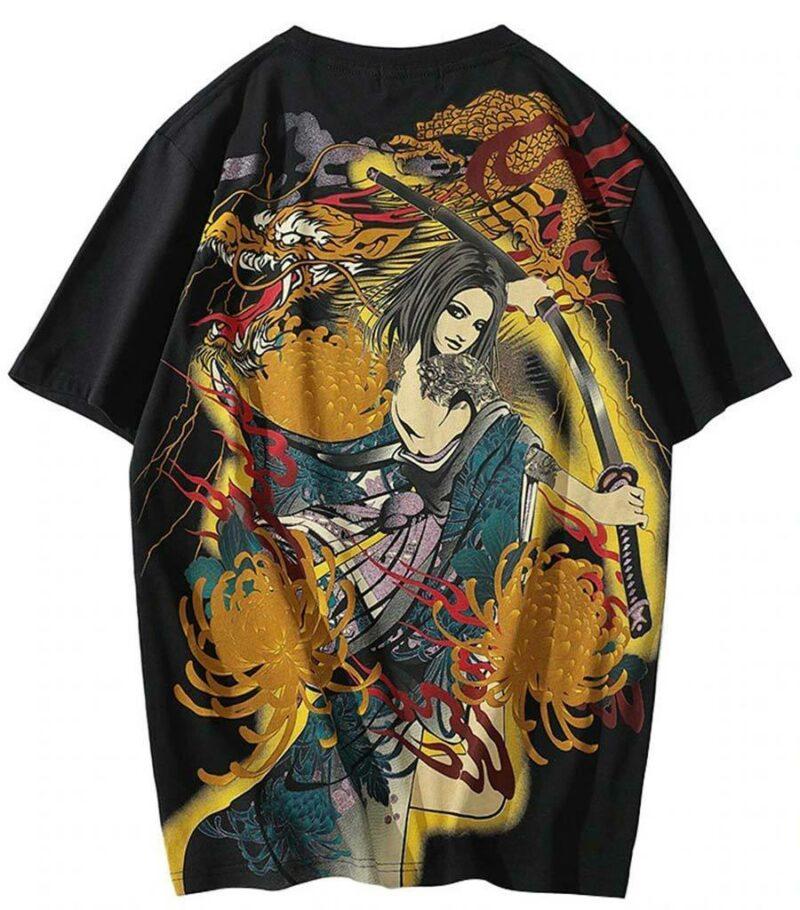 Dragon Tshirt Katana of Samurai Streetwear