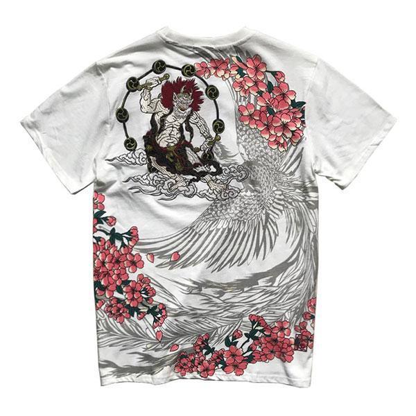 Dragon Tshirt Embroidered Raijin Streetwear