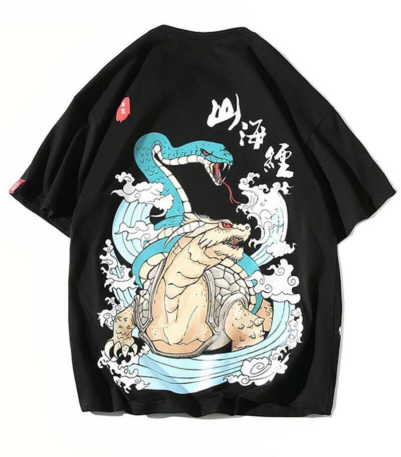 Dragon Tshirt Black Turtle Biologic Cotton