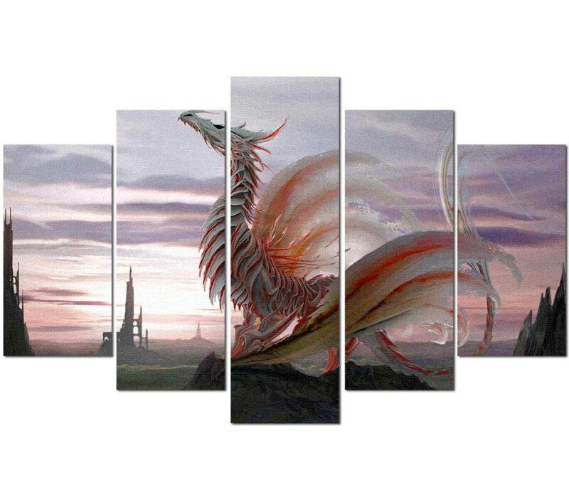White Dragon Painting Wall Art