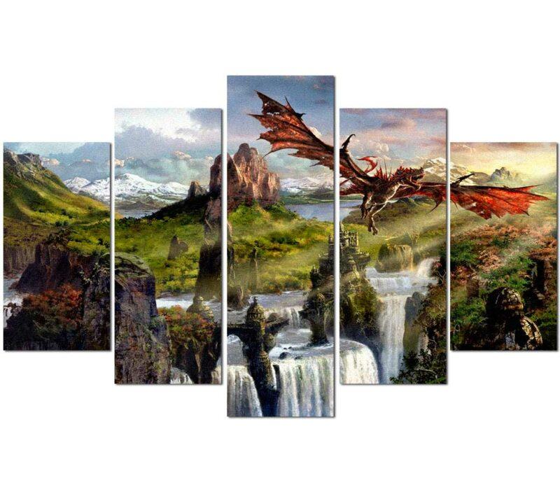 Fantasy World Dragon Painting Wall Art