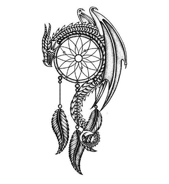 Dragon Ephemeral Tattoo Dream Catcher Waterproof