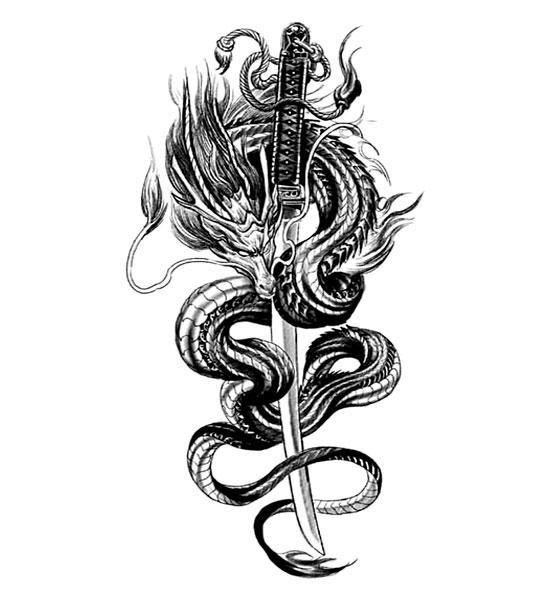 Dragon Ephemeral Tattoo Katana