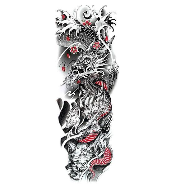 Dragon Ephemeral Tattoo Oni Demon