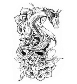 Dragon Ephemeral Tattoo Peony