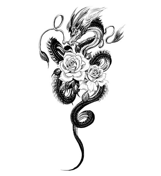 Dragon Ephemeral Tattoo Roses