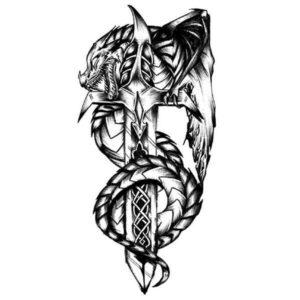 Dragon Ephemeral Tattoo Viking Style