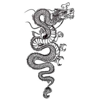 Dragon Ephemeral Tattoo Yin Yang Black