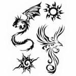 Dragon Ephemeral Tattoo Phonix Art Black