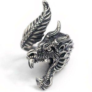 Vintage 925 silver dragon ring